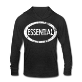 Essential / Unisex Tri-Blend Hoodie Distresed White - heather black