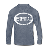 Essential / Unisex Tri-Blend Hoodie Distresed White - heather blue