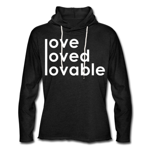 Loved / Unisex Rough-Cut Lightweight Hoodie W - charcoal gray