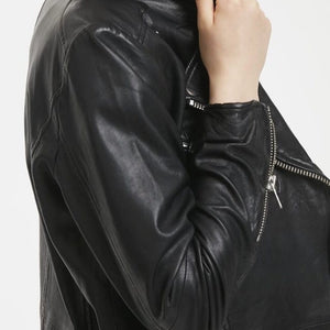 New In Denim Hunter Leather Biker Jacket