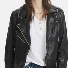 Load image into Gallery viewer, New In Denim Hunter Leather Biker Jacket