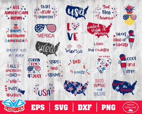 Fourth of July Svg, Dxf, Eps, Png, Clipart, Silhouette and Cutfiles #18