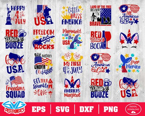 Fourth of July Svg, Dxf, Eps, Png, Clipart, Silhouette and Cutfiles #17