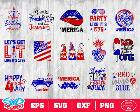 Fourth of July Svg, Dxf, Eps, Png, Clipart, Silhouette and Cutfiles #7