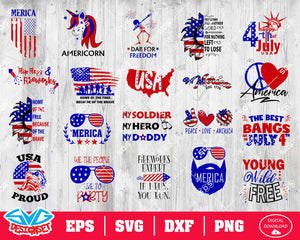 Fourth of July Svg, Dxf, Eps, Png, Clipart, Silhouette and Cutfiles #6