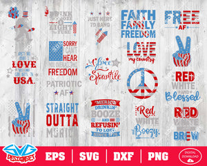 Fourth of July Svg, Dxf, Eps, Png, Clipart, Silhouette and Cutfiles #8
