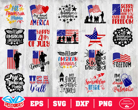 Fourth of July Svg, Dxf, Eps, Png, Clipart, Silhouette and Cutfiles #13