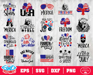 Fourth of July Svg, Dxf, Eps, Png, Clipart, Silhouette and Cutfiles #15