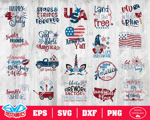 Fourth of July Svg, Dxf, Eps, Png, Clipart, Silhouette and Cutfiles #10