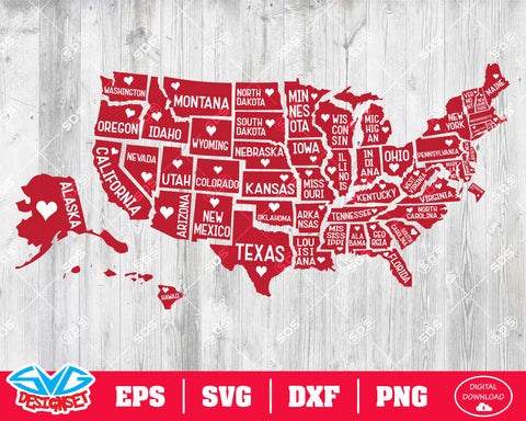 51 State of America Svg, Dxf, Eps, Png, Clipart, Silhouette and Cutfiles