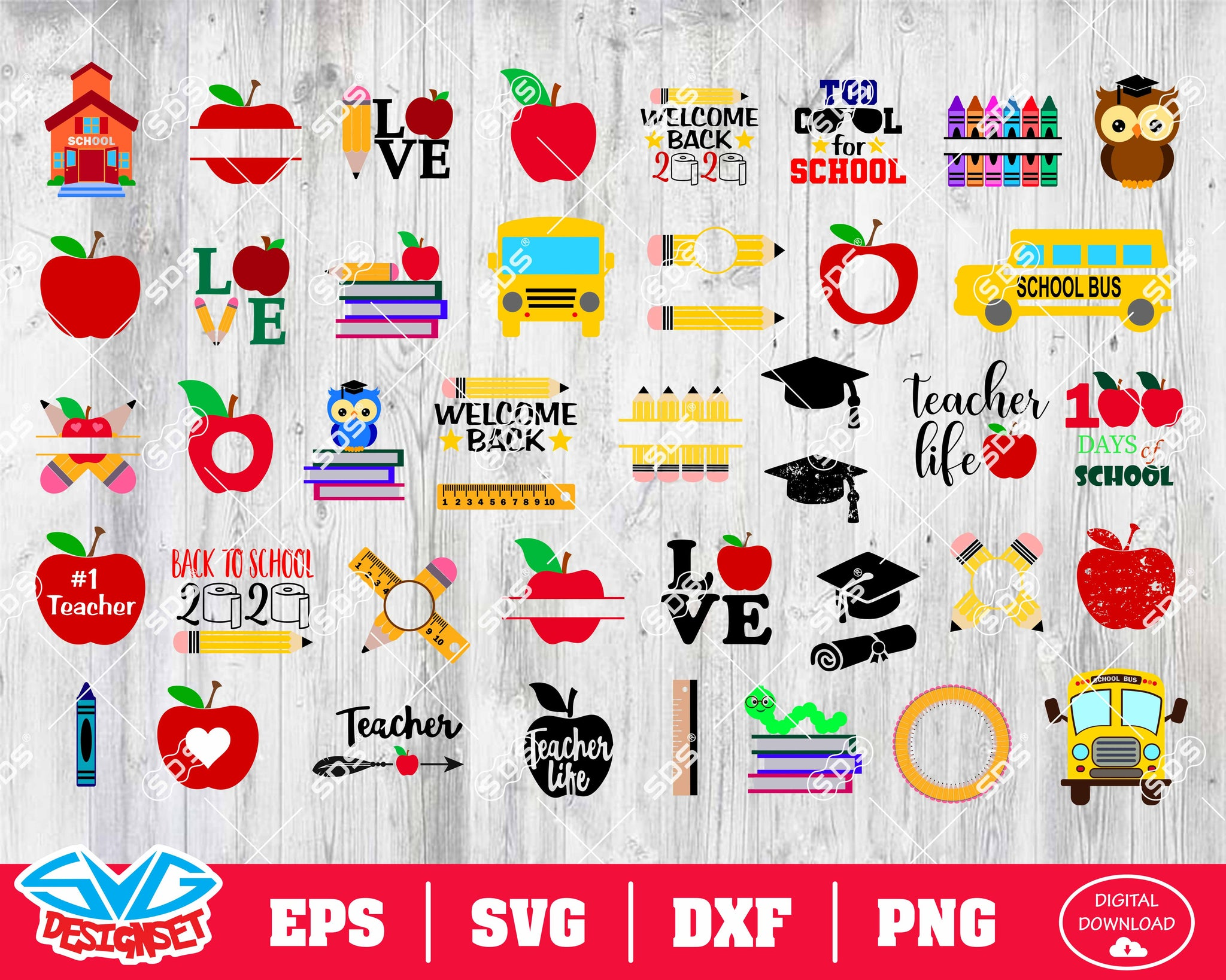Back to School Svg, Dxf, Eps, Png, Clipart, Silhouette and Cutfiles #1