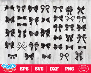 Bows Svg, Dxf, Eps, Png, Clipart, Silhouette and Cutfiles #1
