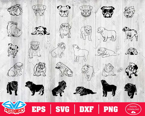 Bulldog Svg, Dxf, Eps, Png, Clipart, Silhouette and Cutfiles