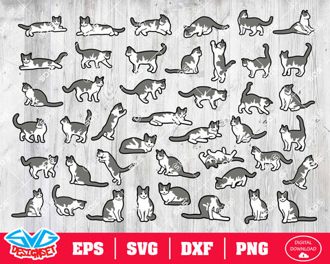 Cat Svg, Dxf, Eps, Png, Clipart, Silhouette and Cutfiles #3