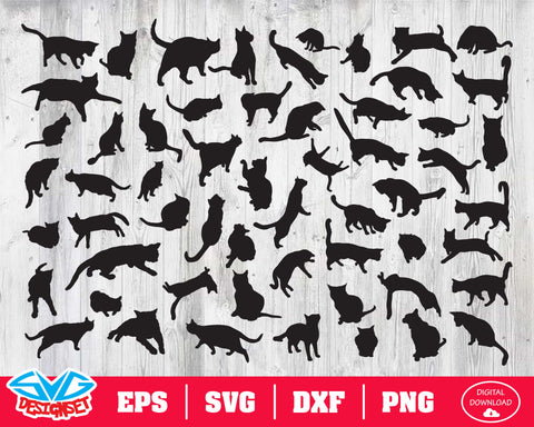 Cat Svg, Dxf, Eps, Png, Clipart, Silhouette and Cutfiles #1