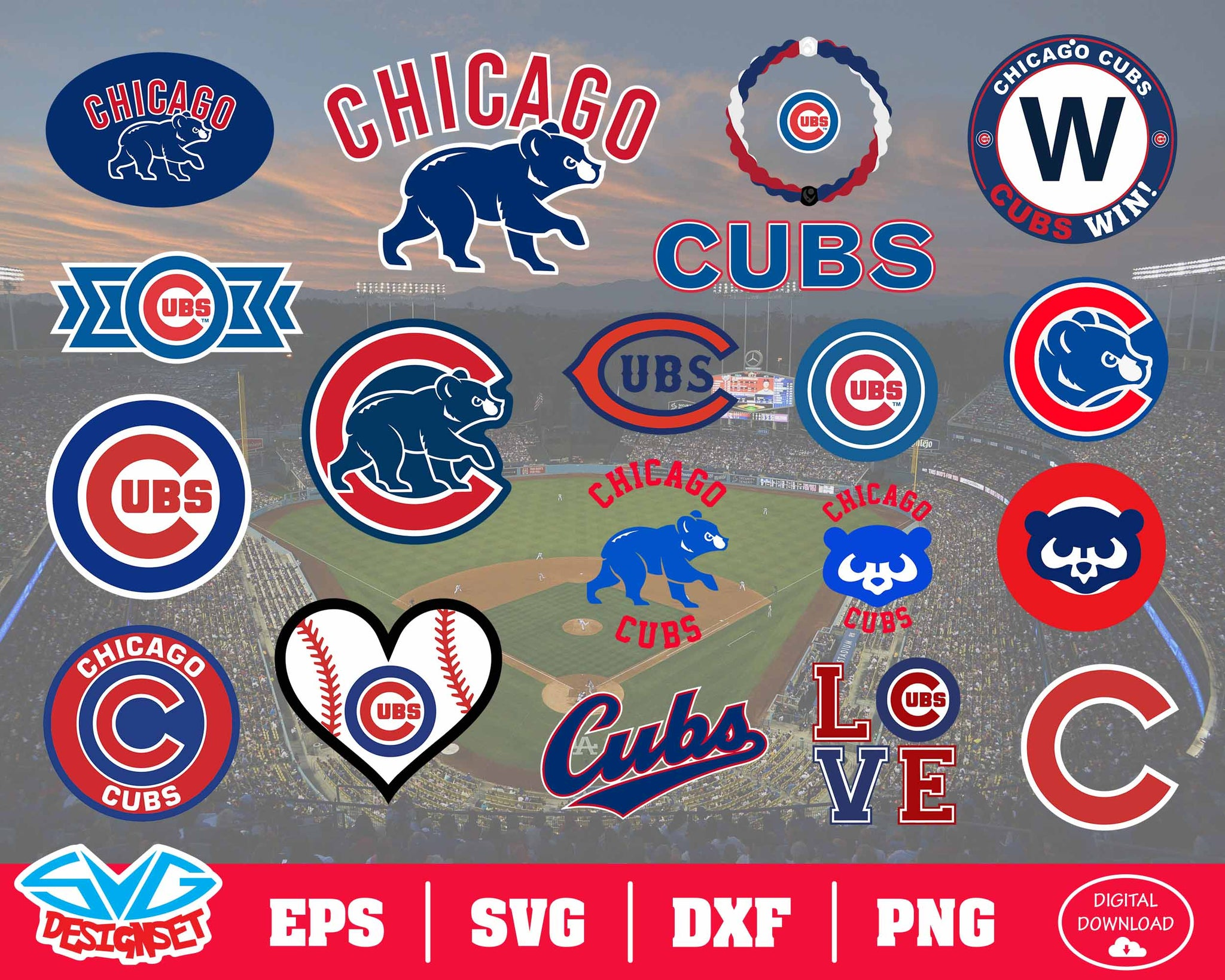 Chicago Cubs Team Svg, Dxf, Eps, Png, Clipart, Silhouette and Cutfiles