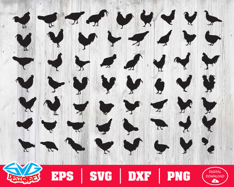 Chicken Svg, Dxf, Eps, Png, Clipart, Silhouette and Cutfiles