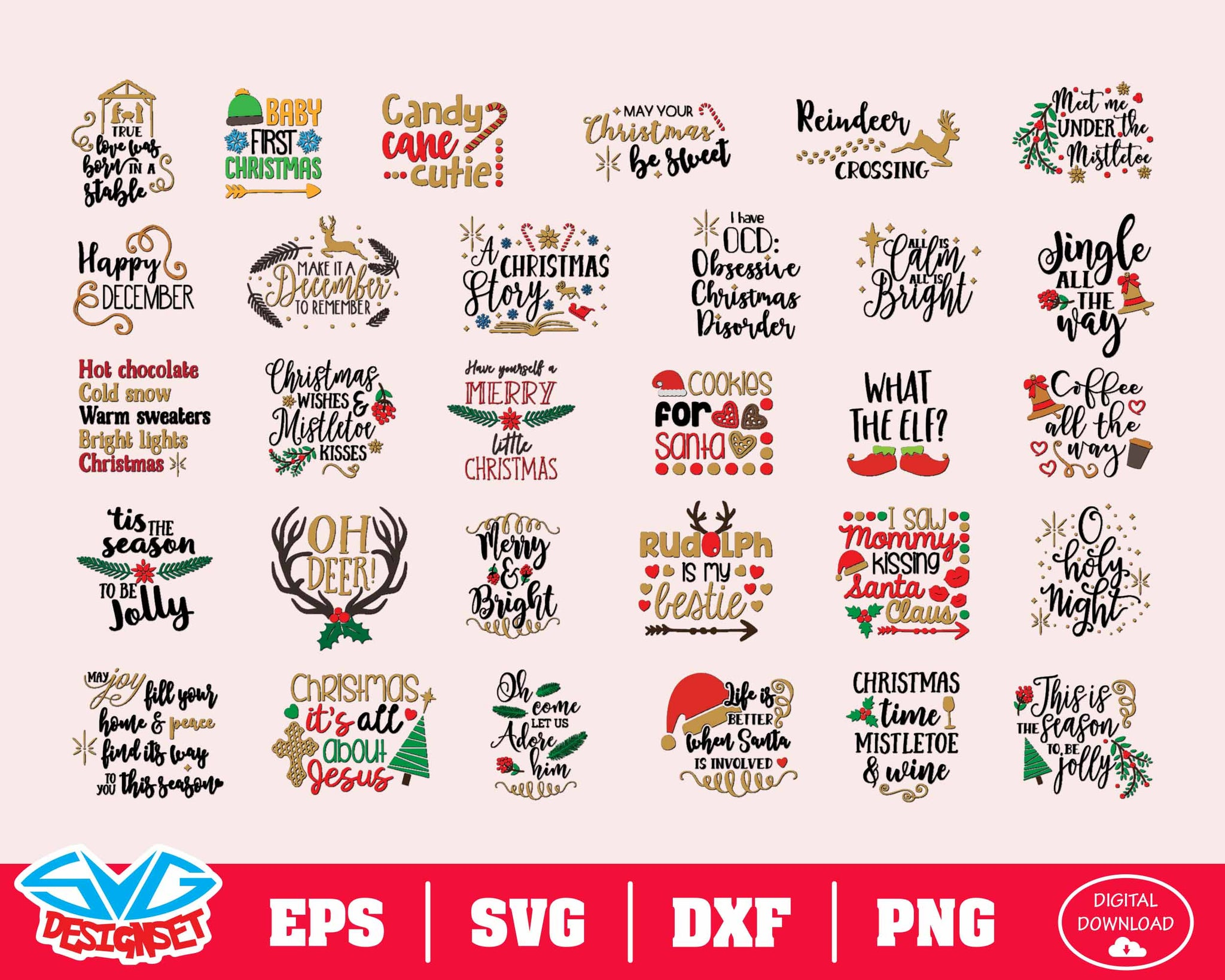 Christmas Bundle Svg, Dxf, Eps, Png, Clipart, Silhouette and Cutfiles #9