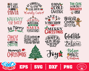 Christmas Bundle Svg, Dxf, Eps, Png, Clipart, Silhouette and Cutfiles #1