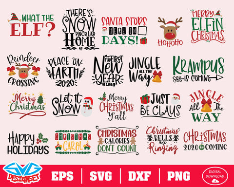 Christmas Bundle Svg, Dxf, Eps, Png, Clipart, Silhouette and Cutfiles #2