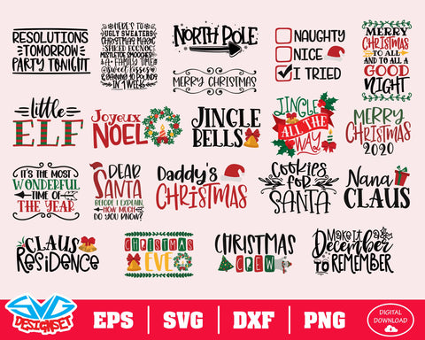 Christmas Bundle Svg, Dxf, Eps, Png, Clipart, Silhouette and Cutfiles #3