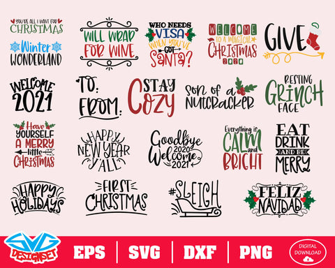 Christmas Bundle Svg, Dxf, Eps, Png, Clipart, Silhouette and Cutfiles #4