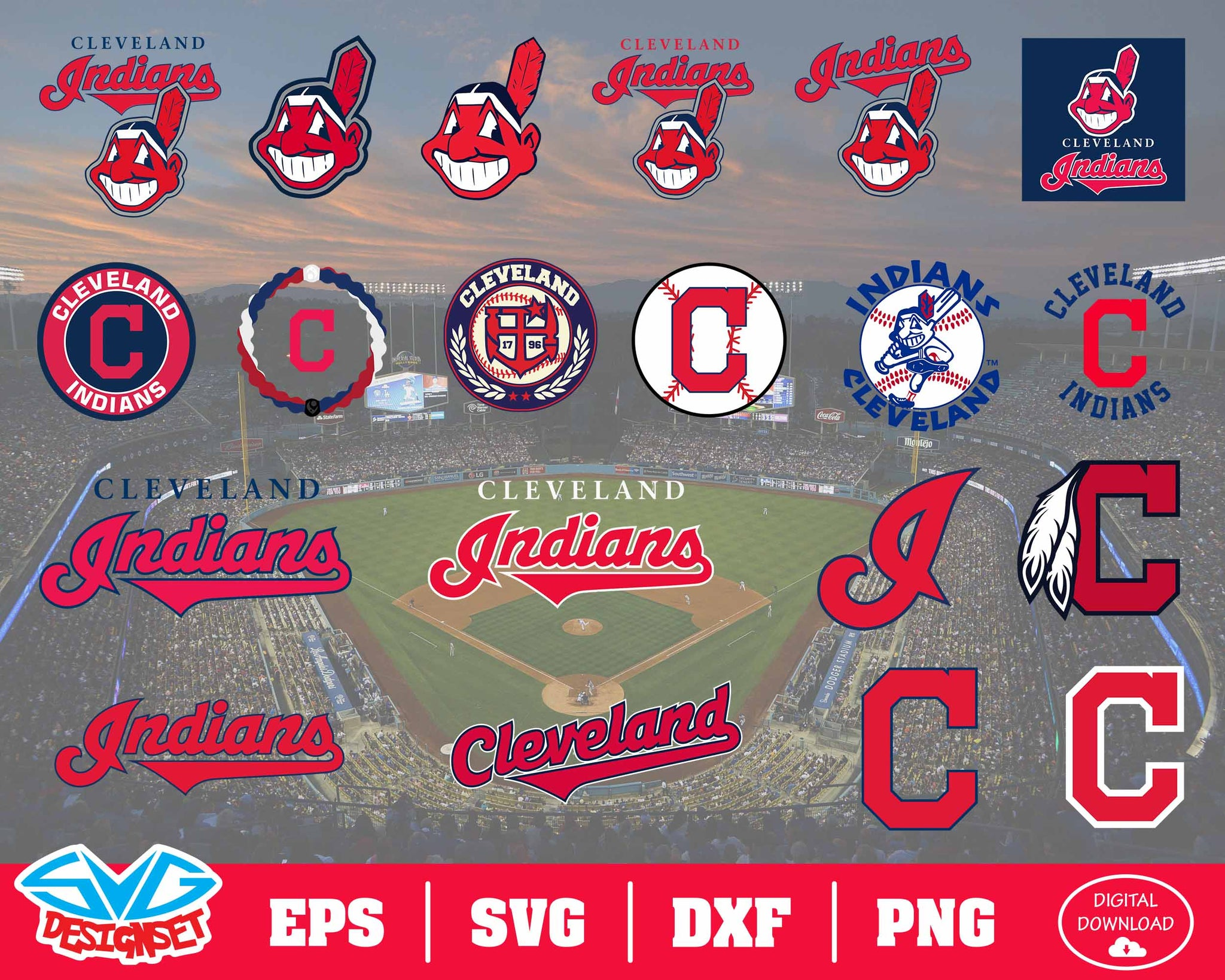 Cleveland Indians Team Svg, Dxf, Eps, Png, Clipart, Silhouette and Cutfiles