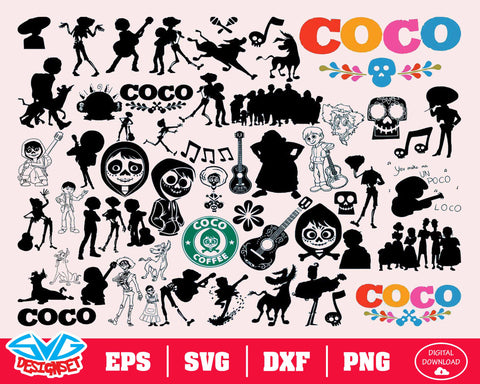 Coco Svg, Dxf, Eps, Png, Clipart, Silhouette and Cutfiles #2