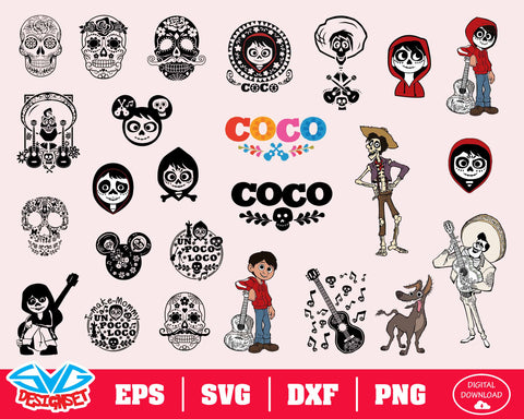 Coco SVG, Dxf, Eps, Png, Clipart, Silhouette and Cut files for Cricut & Silhouette Cameo