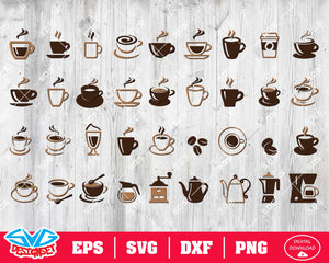 Coffee Svg, Dxf, Eps, Png, Clipart, Silhouette and Cutfiles #2