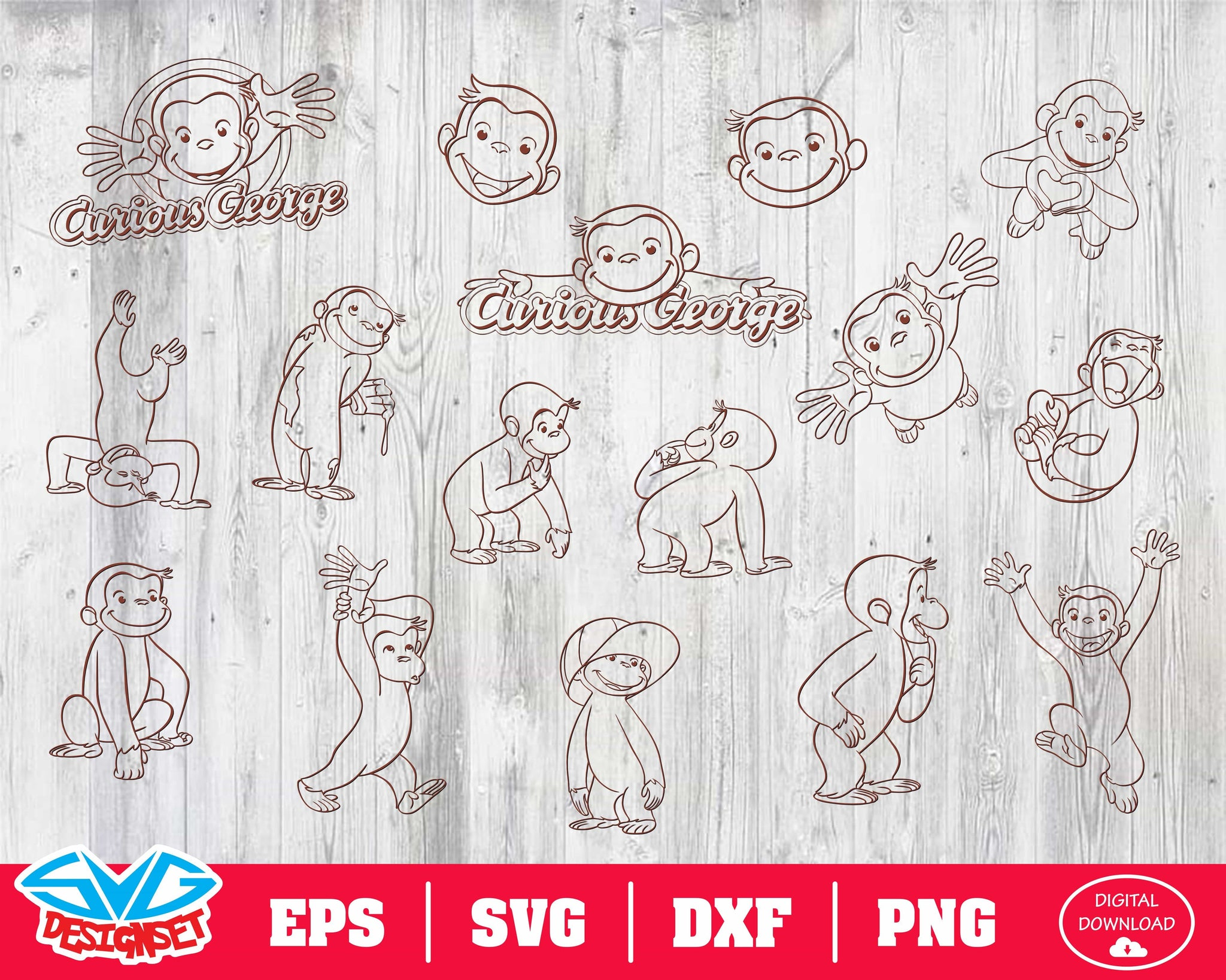 Curious George Svg, Dxf, Eps, Png, Clipart, Silhouette and Cutfiles #3