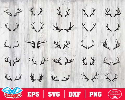 Deer antlers Svg, Dxf, Eps, Png, Clipart, Silhouette and Cutfiles