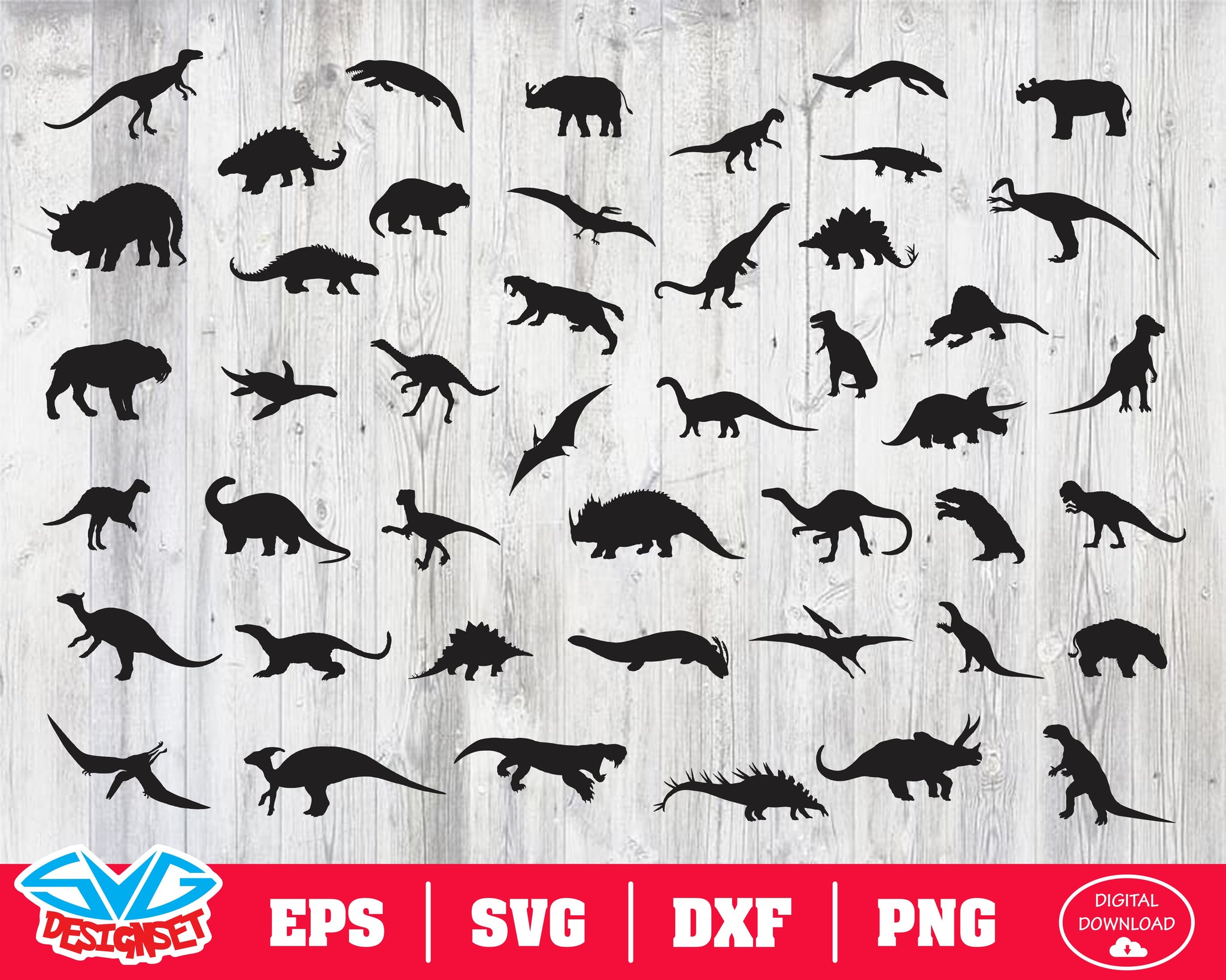 Dinosaur Svg, Dxf, Eps, Png, Clipart, Silhouette and Cutfiles #2