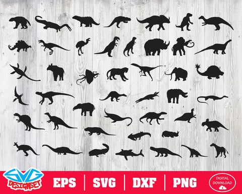 Dinosaur Svg, Dxf, Eps, Png, Clipart, Silhouette and Cutfiles #1