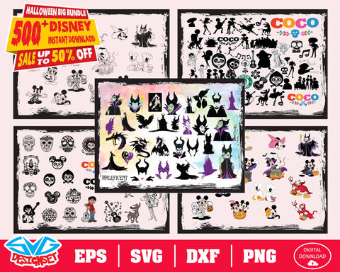 Disney Halloween Bundle Svg, Dxf, Eps, Png, Clipart, Silhouette and Cutfiles