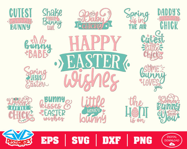 Easter Bundle Quote Bundle Svg, Dxf, Eps, Png, Clipart, Silhouette and Cut files for Cricut & Silhouette Cameo #1