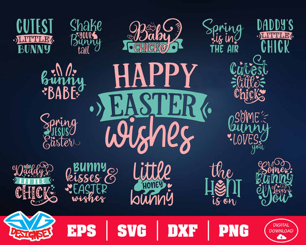 Easter Bundle Quote Bundle Svg, Dxf, Eps, Png, Clipart, Silhouette and Cut files for Cricut & Silhouette Cameo