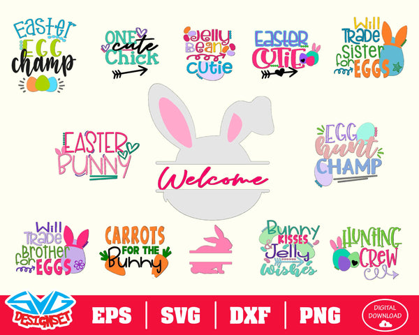 Big Easter Bundle Svg, Dxf, Eps, Png, Clipart, Silhouette and Cut files for Cricut & Silhouette Cameo #1