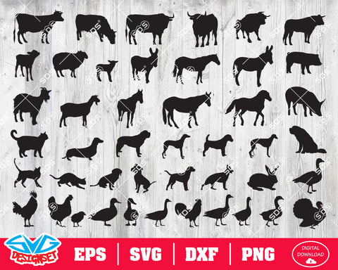 Farm animals Svg, Dxf, Eps, Png, Clipart, Silhouette and Cutfiles