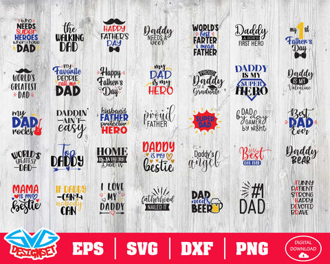 Father's Day Bundle Svg, Dxf, Eps, Png, Clipart, Silhouette and Cutfiles