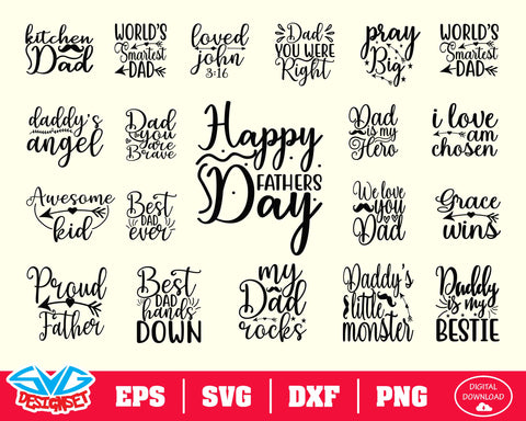 Happy Father's Day Bundle Svg, Dxf, Eps, Png, Clipart, Silhouette and Cutfiles