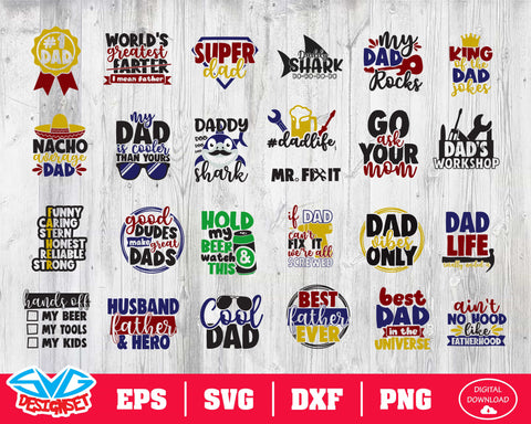Father Day Bundle Svg, Dxf, Eps, Png, Clipart, Silhouette and Cutfiles