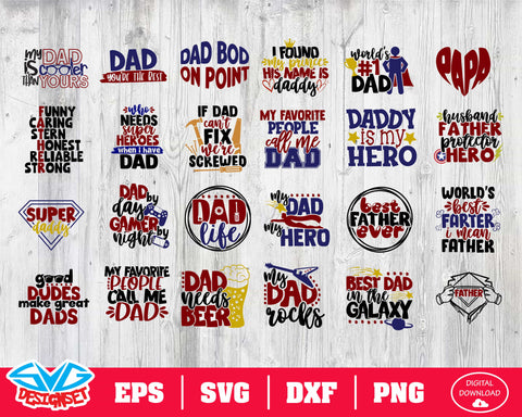 Fathers Day Bundle Svg, Dxf, Eps, Png, Clipart, Silhouette and Cutfiles #1