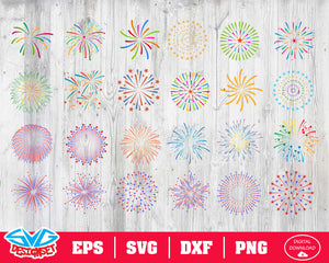 Fireworks Svg, Dxf, Eps, Png, Clipart, Silhouette and Cutfiles #1