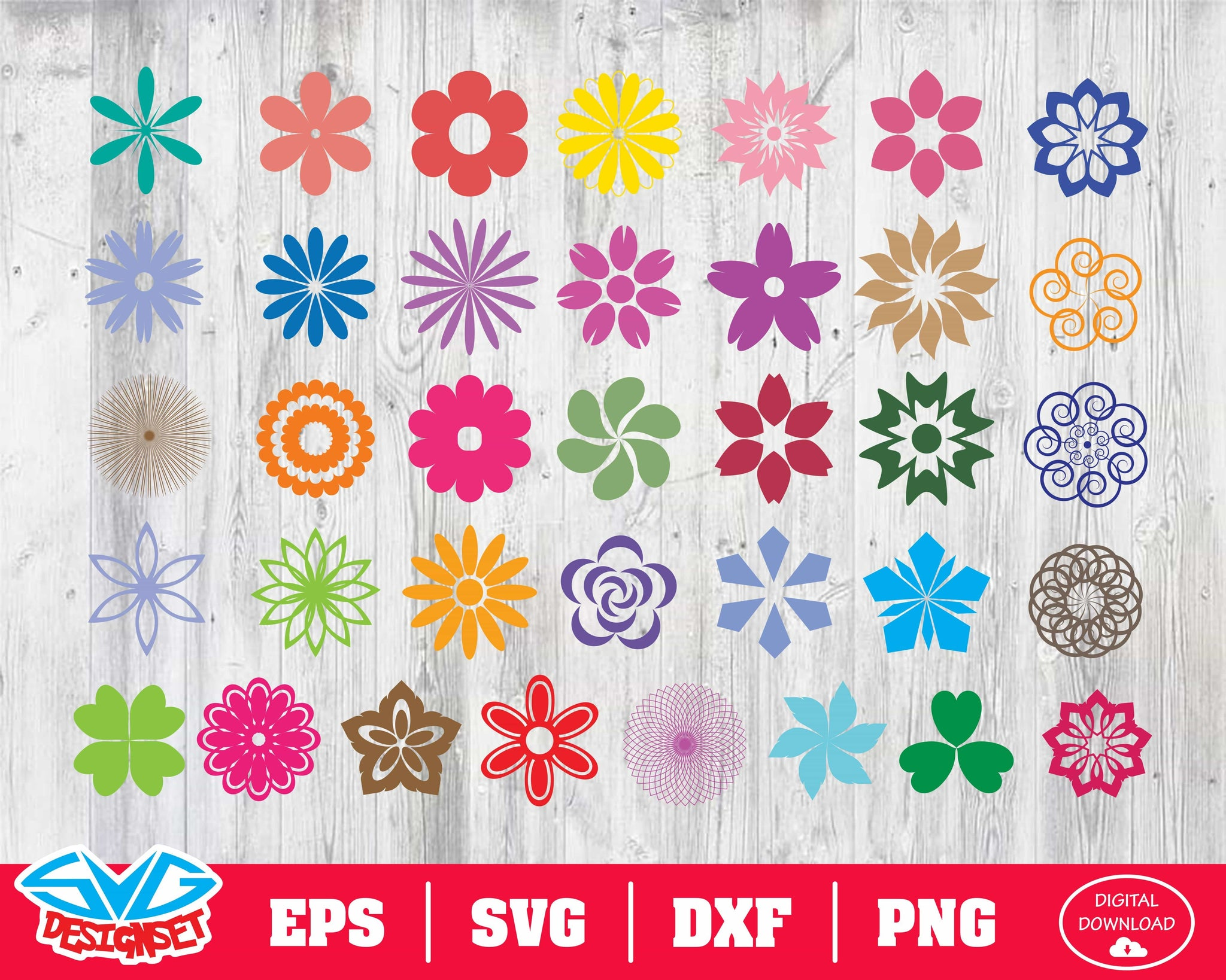Flower Svg, Dxf, Eps, Png, Clipart, Silhouette and Cutfiles #7