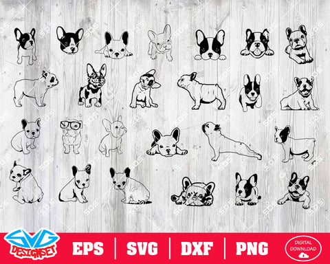 French Bulldog Svg, Dxf, Eps, Png, Clipart, Silhouette and Cutfiles