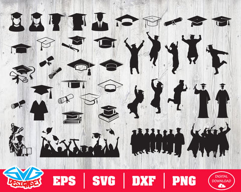 Graduation Svg, Dxf, Eps, Png, Clipart, Silhouette and Cutfiles #2