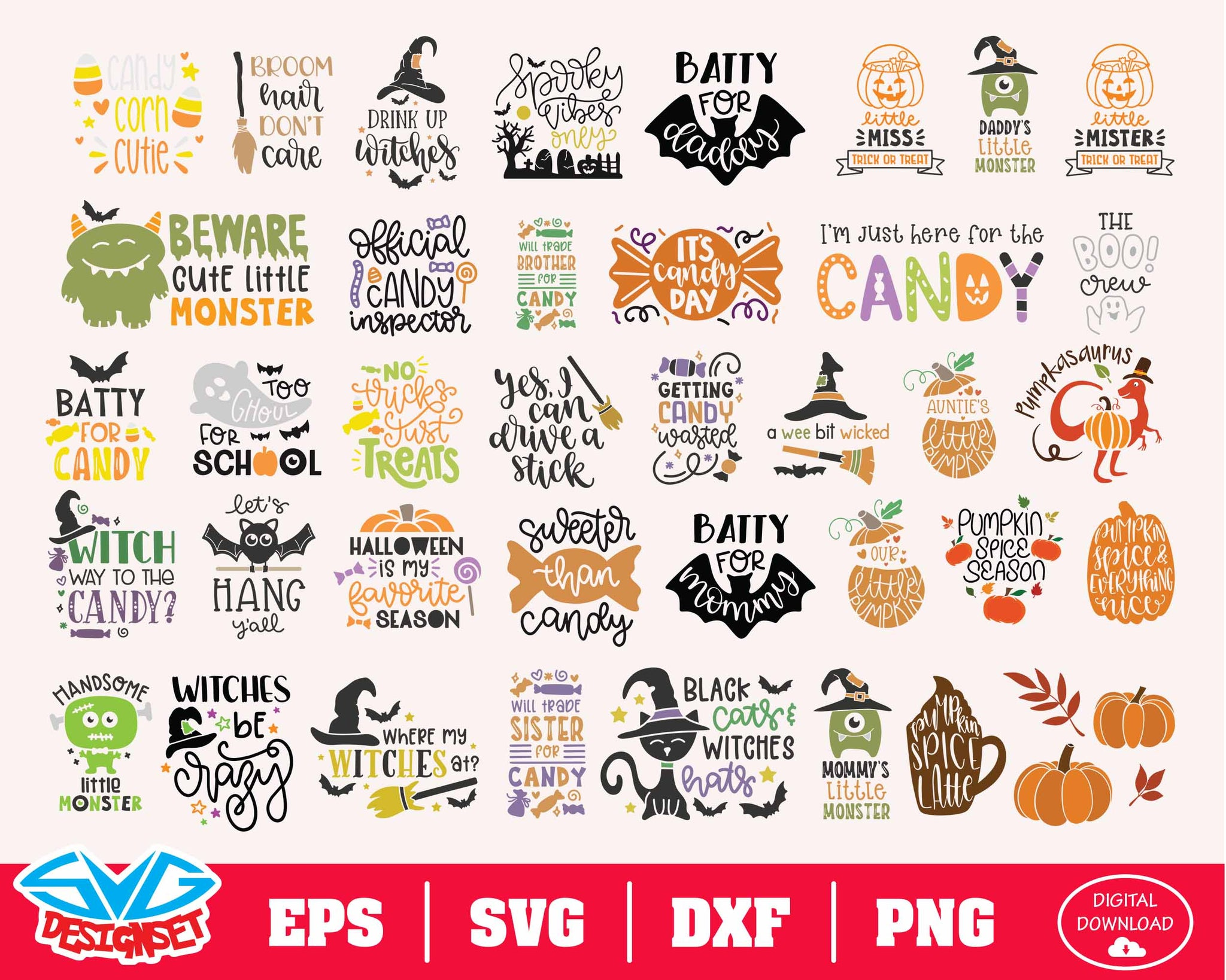 Halloween Bundle Svg Dxf Eps Png Clipart Silhouette And Cutfiles