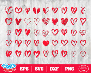 Heart Svg, Dxf, Eps, Png, Clipart, Silhouette and Cutfiles #3