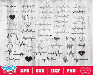 Heartbeat Svg, Dxf, Eps, Png, Clipart, Silhouette and Cutfiles #1